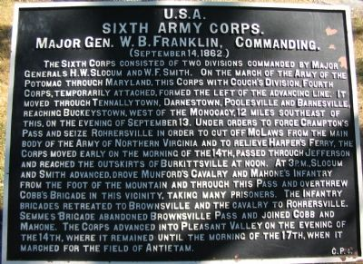 Crampton's Gap War Department Tablet C.P. 4 Marker image. Click for full size.