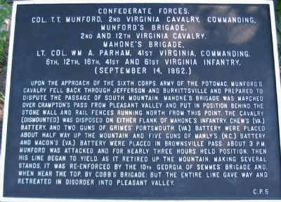 Crampton's Pass War Department Tablet C.P. 5 (Confederate Forces) Marker image. Click for full size.