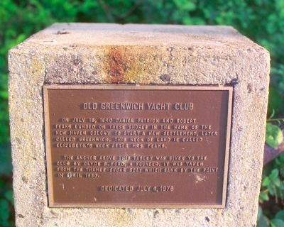 Old Greenwich Yacht Club Marker image. Click for full size.