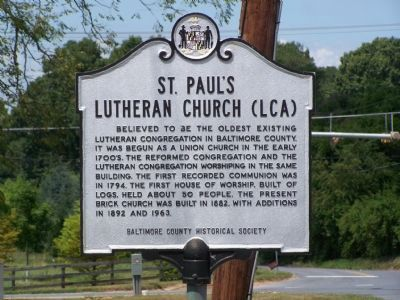 St. Paul's Lutheran Church Marker image. Click for full size.