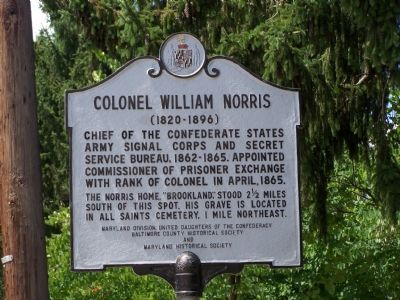 Colonel William Norris (1820-1896) Marker image. Click for full size.