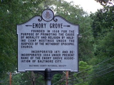 Emory Grove Marker image. Click for full size.