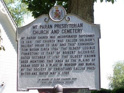 Mt. Paran Presbyterian Church and Cemetery Marker image. Click for full size.