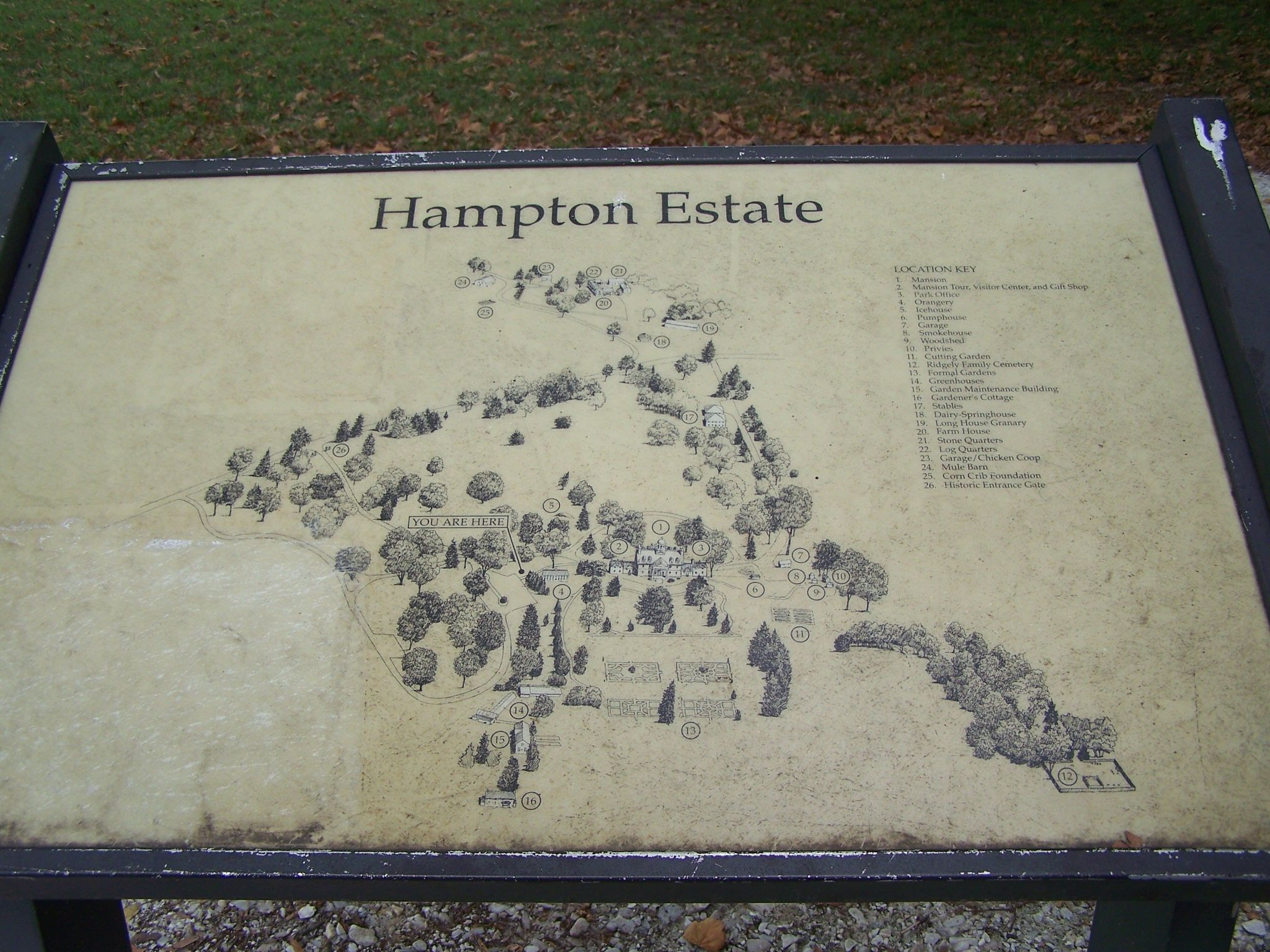 Map of Hampton Mansion grounds.