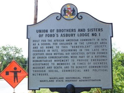 Union of Brother and Sisters of Ford's Asbury Lodge No. 1 Marker image. Click for full size.