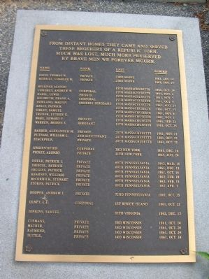 Listing of Soldiers Buried in the Church Cemetery image. Click for full size.
