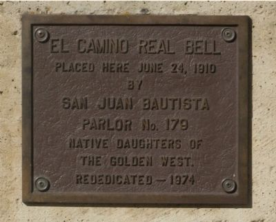 The Upper - El Camino Real Bell Marker image. Click for full size.