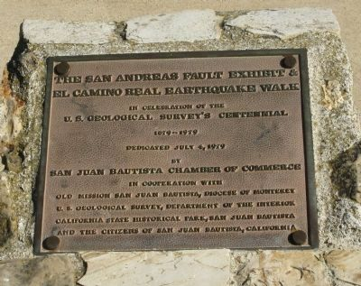 The San Andreas Fault Exhibit & El Camino Real Earthquake Walk Marker image. Click for full size.