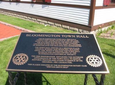 Bloomington Town Hall Marker image. Click for full size.