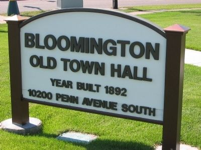 Bloomington Old Town Hall Sign image. Click for full size.