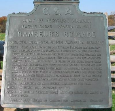 Ramseur's Brigade Tablet image. Click for full size.