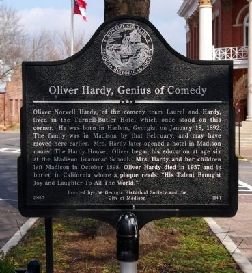 Oliver Hardy, Genius of Comedy Marker image. Click for full size.