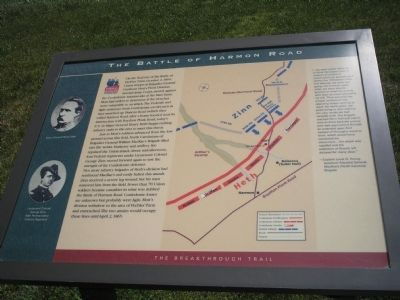 The Battle of Harmon Road Marker image. Click for full size.