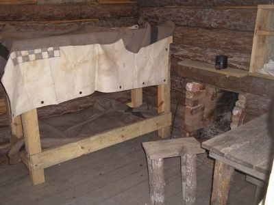 Inside a Confederate Winter Hut image. Click for full size.