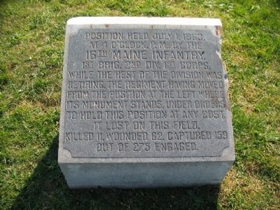 16th Maine Infantry Marker image. Click for full size.