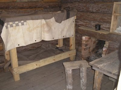 Inside Confederate Winter Hut image. Click for full size.