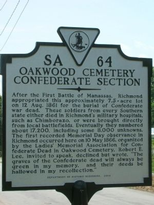 Oakwood Cemetery Confederate Section Marker image. Click for full size.