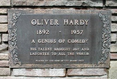 Plaque at Oliver Hardy's gravesite in North Hollywood, California image. Click for full size.