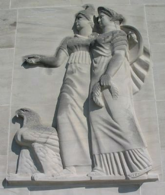 Figures on Front of Memorial image. Click for full size.