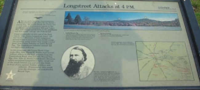 Longstreet Attacks at 4 p.m. Marker image. Click for full size.