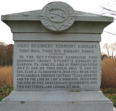 First Regiment Vermont Cavalry Monument image. Click for full size.
