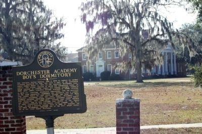 Marker with Dorchester Academy Boy's Dormitory in background image. Click for full size.