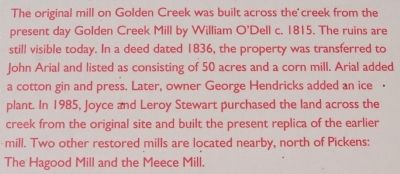 Golden Creek Mill Marker image. Click for full size.