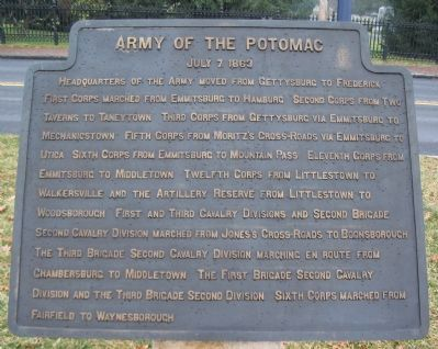 Army of the Potomac - July 7, 1863 Itinerary Tablet image. Click for full size.