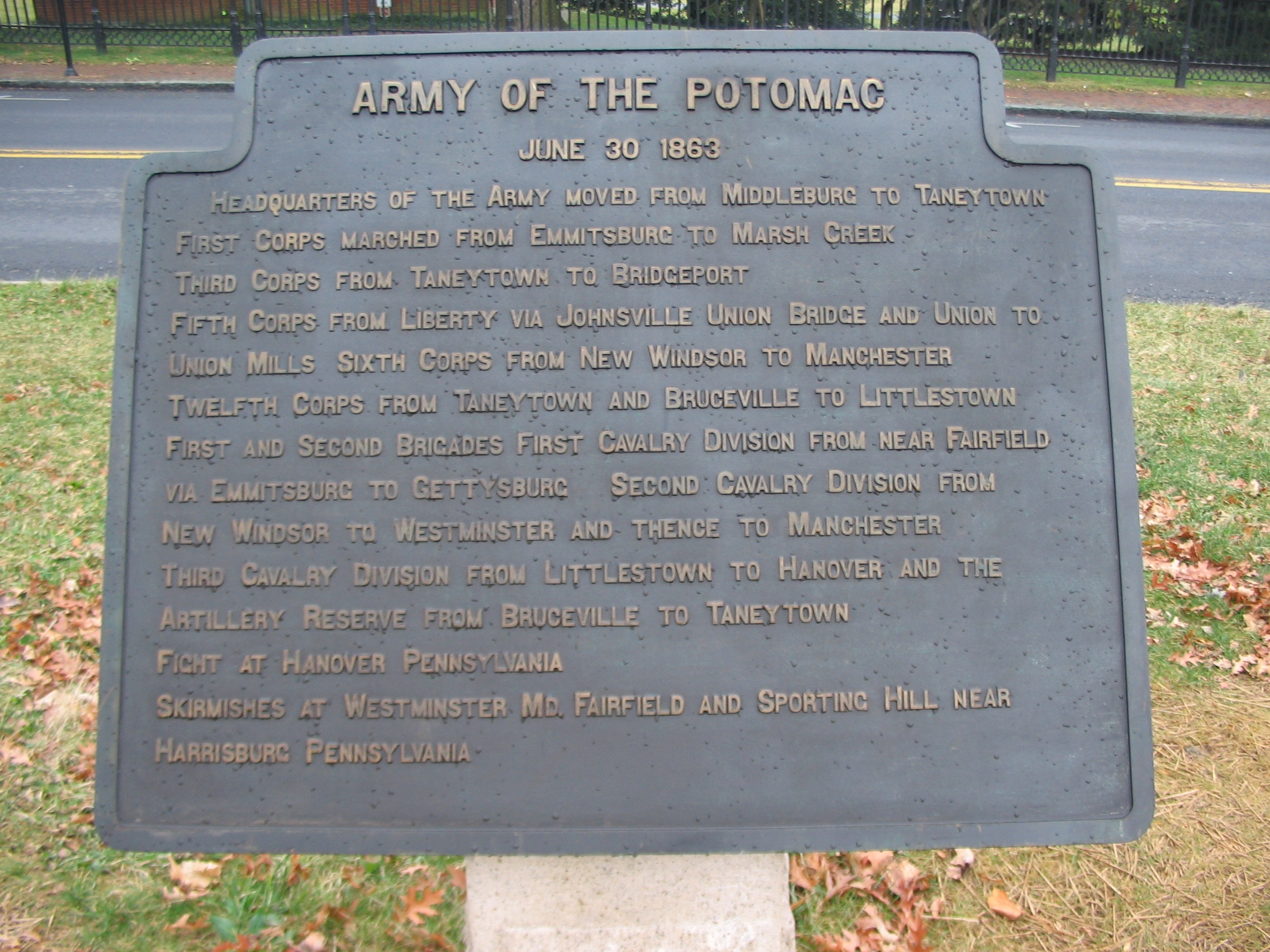 Army of the Potomac - June 30, 1863 Itinerary Tablet