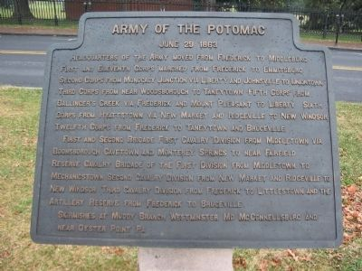 Army of the Potomac - June 29, 1863 Itinerary Tablet image. Click for full size.
