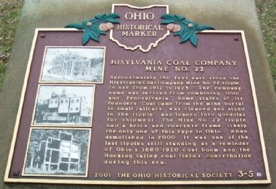 Hisylvania Coal Company Mine No. 22 Marker image. Click for full size.