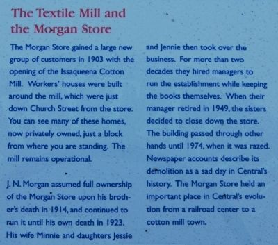 The Central History Museum Marker - Textile Mill and Morgan Store image. Click for full size.
