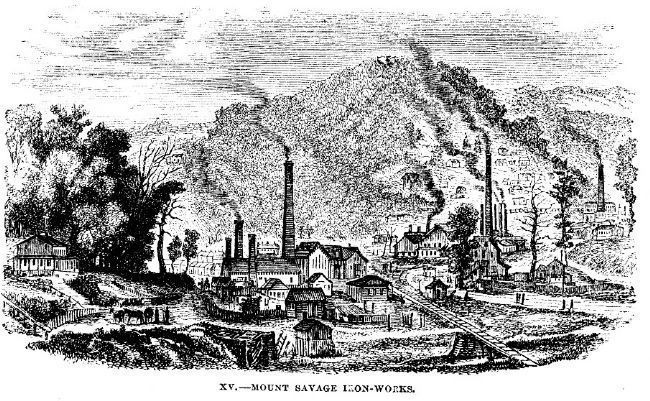 Mount Savage Iron Works in the 1850s image. Click for more information.