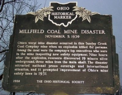 Millfield Coal Mine Disaster Marker image. Click for full size.