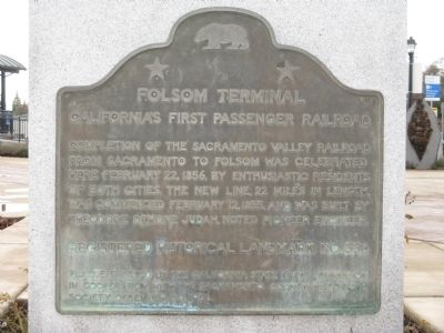 Folsom Terminal Marker image. Click for full size.