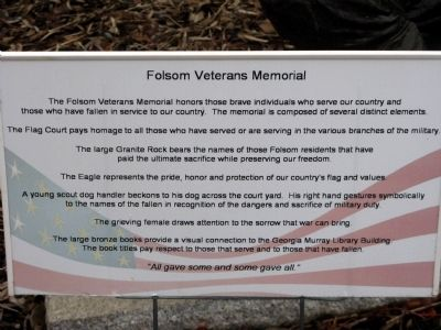 Folsom Veterans Memorial Marker image. Click for full size.