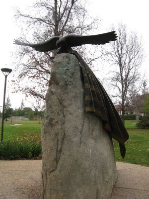 Side View of Granite Rock and Eagle Carrying Flag image. Click for full size.