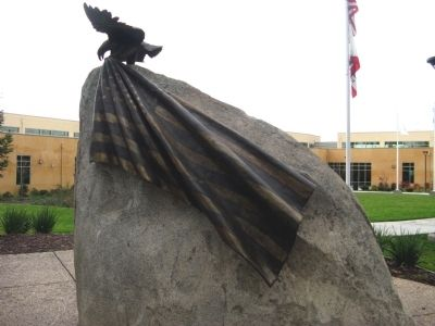 Back View of Granite Rock Showing American Flag image. Click for full size.