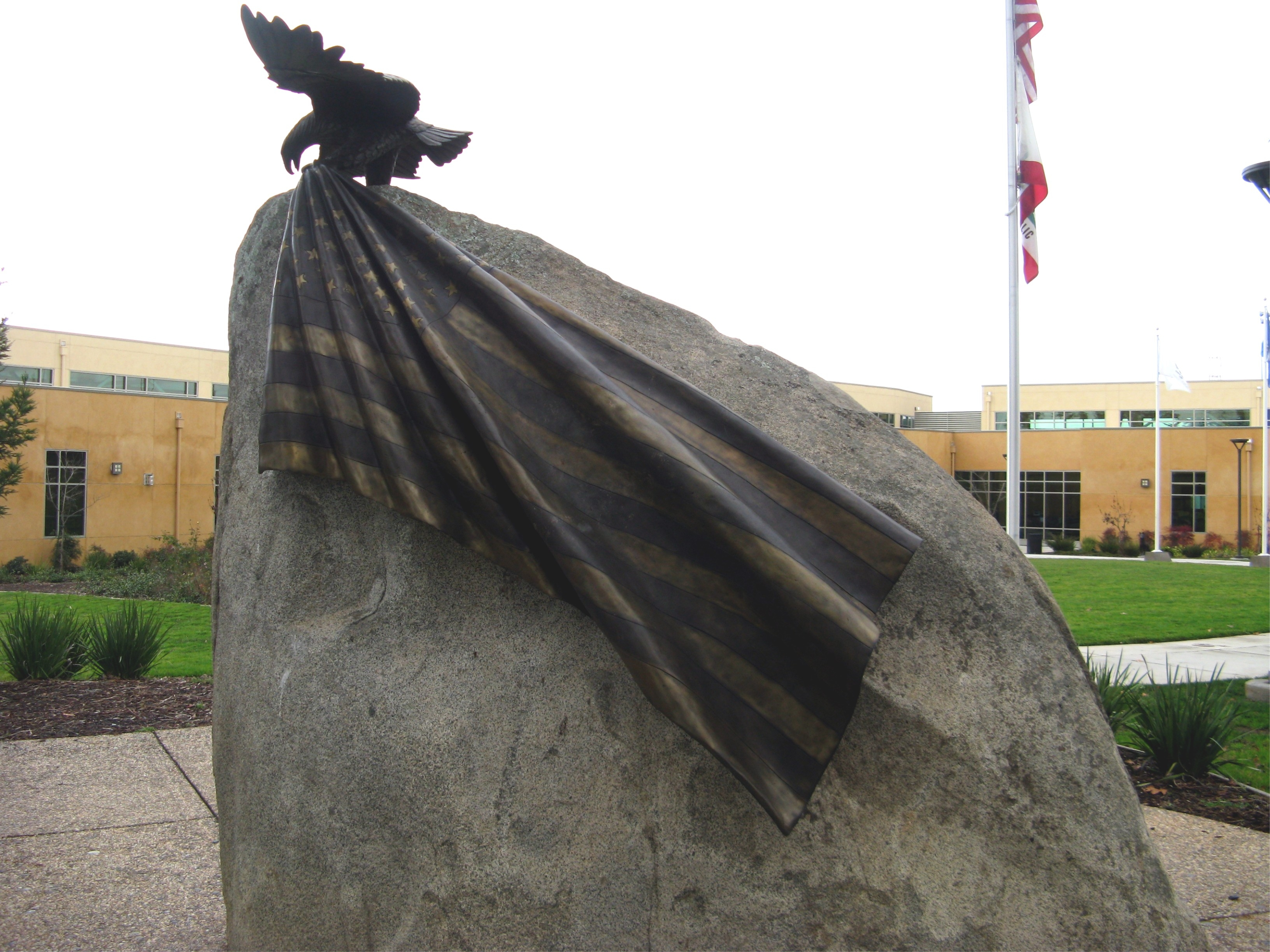 Back View of Granite Rock Showing American Flag