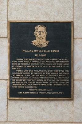 "Plaque near William ""Uncle Bill"" Lewis Marker image. Click for full size."