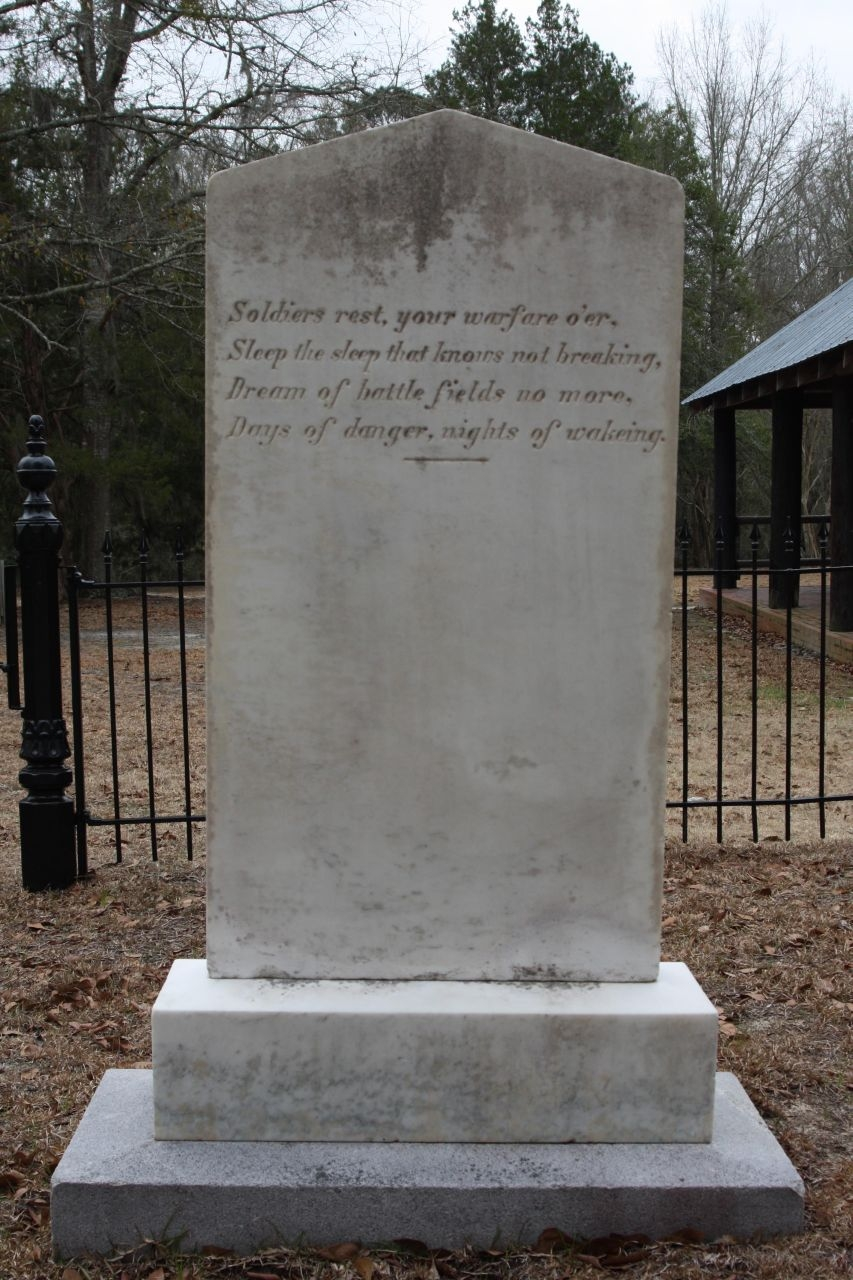Rivers Bridge Confederate Dead Poem on back