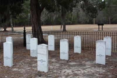 Rivers Bridge Confederate Dead Headstones of 10 named Confederate fallen image. Click for full size.