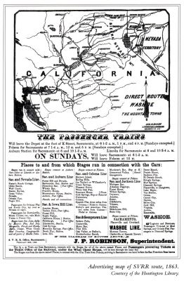Advertising Map of the Sacramento Valley Railroad Route, 1863 image. Click for full size.