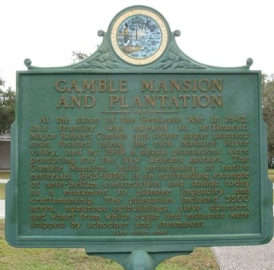 Gamble Mansion and Plantation Marker image. Click for full size.