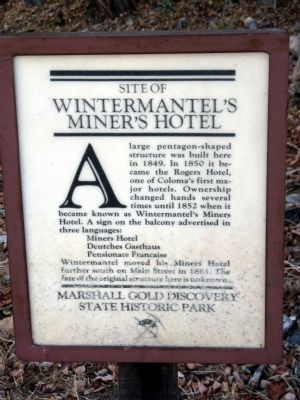 Wintermantel's Miner's Hotel Marker image. Click for full size.