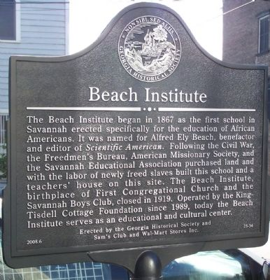 Beach Institute Marker image. Click for full size.