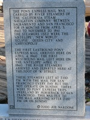 "Back of Marker - Pony Express River Steamer ""Antelope"" image. Click for full size."