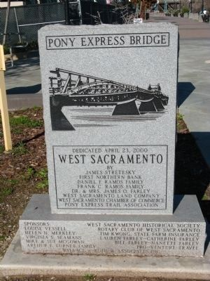 Front of the Pony Express Bridge Marker image. Click for full size.