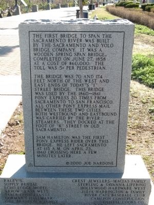 Back of the Pony Express Bridge Marker image. Click for full size.