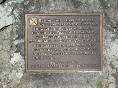 Field Hospital of the 32nd Mass. Infantry Marker image. Click for full size.